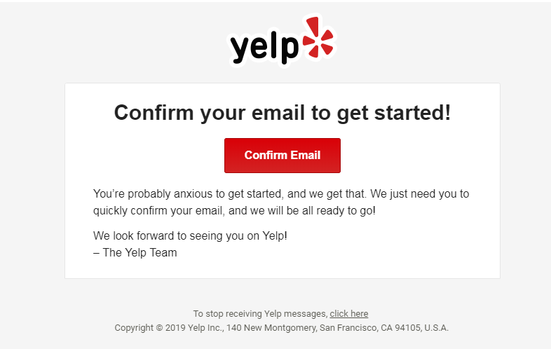 Yelp email confirmation page