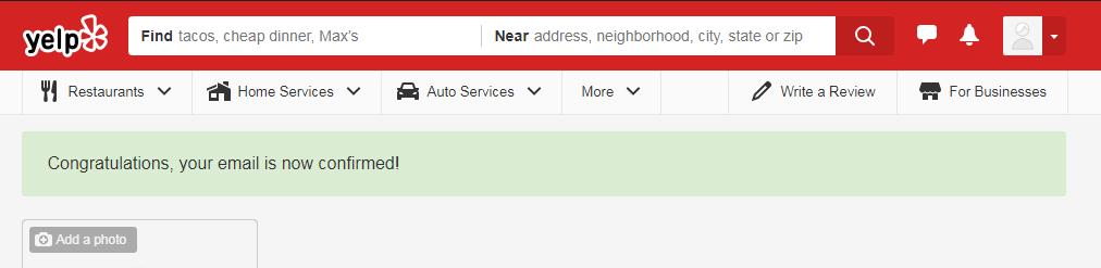 Screenshot of a yelp email confirmation so one can leave a good review for Pathway to Hope
