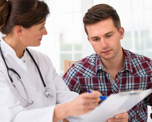 Patient being consulted about barbiturate addiction treatment