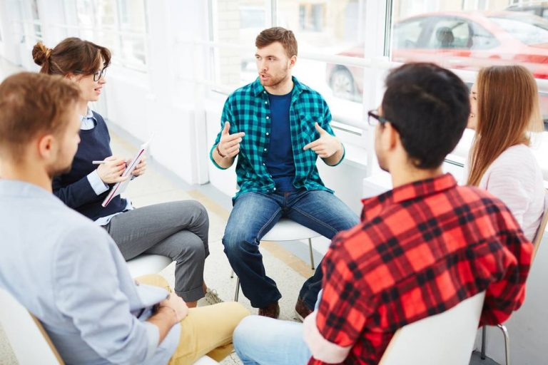people in a rehab group for stimulant addiction