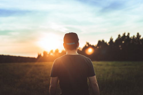 Man standing in a field, considering humanistic therapy